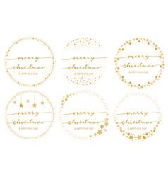 golden star wreath with hand written merry vector image