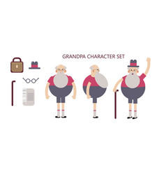 grandpa character set in poses for animation vector image
