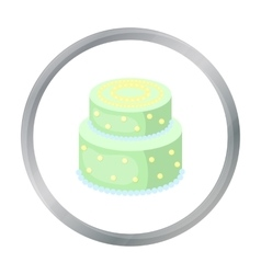 Green cake with yellow dots icon in cartoon style vector image