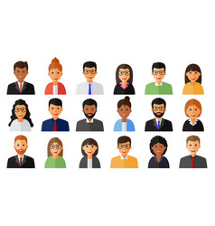 Group of working people men and women icons vector