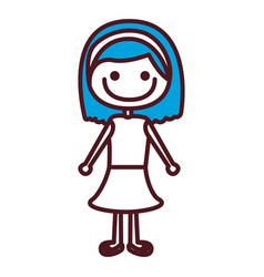 Hand drawing silhouette blue short hair girl with vector