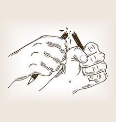 Hands break pencil engraving vector