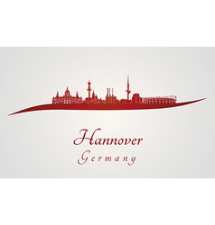 Hannover skyline in red vector image