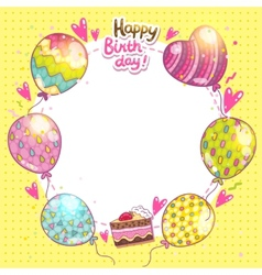 Happy birthday background with cake and balloons vector