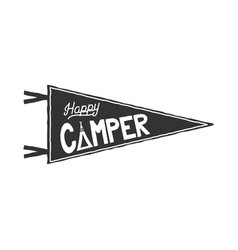 Happy camper pennant template typography design vector