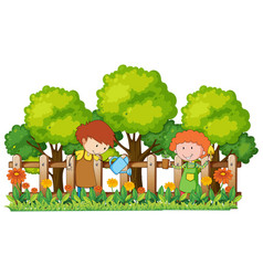 Happy children watering plants in garden vector