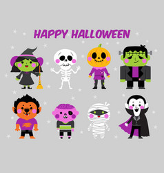 happy halloween character set vector image