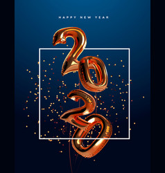 happy new year 2020 copper 3d balloon card vector image