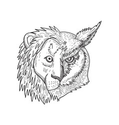 Head half lion and half great horned owl tiger vector