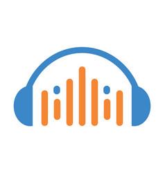 headphone music graphic equalizer icon logo vector image