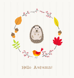 hedgehog with autumn frame card vector image