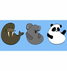 icons of rare animals vector image