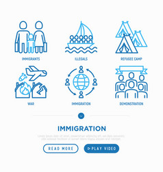 Immigration thin line icons set vector