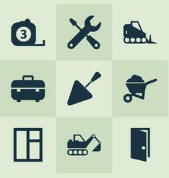 industry icons set with bulldozer trowel door vector image