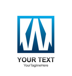 initial letter w logo template colored blue vector image