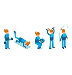isometric girl doing sport exercises woman vector image