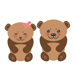 Kawaii funny brown bears girl and boy white muzzle vector