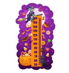 kids height chart halloween sweets growth meter vector image