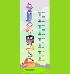 kids height chart wall metter with funny cartoon vector image