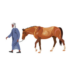 Man leads a racing horse vector