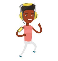 Man running with earphones and smartphone vector