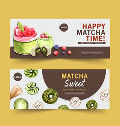 Matcha sweet banner design with raspberry cake vector