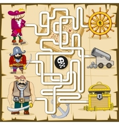 Maze with pirates game for kids vector image