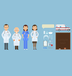 Medicine set with doctor and nurses in flat style vector