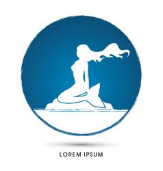 mermaid sitting on rock vector image
