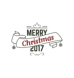 Merry Christmas 2017 typography wish sign vector image