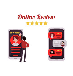 mobile phone screens with man leaving review and vector image