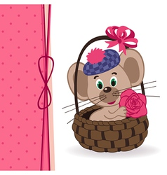 Mouse in a basket vector