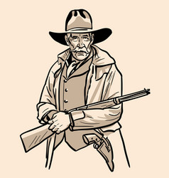 Old sheriff with a hat and rifle cowboy face vector