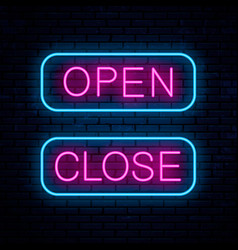 Open and close neon signs vector