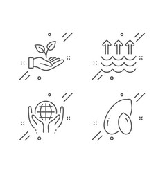 Organic tested helping hand and evaporation icons vector