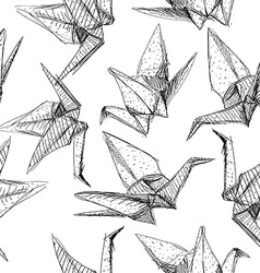 Origami paper cranes set sketch seamless pattern vector image