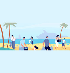 people clean beach man cleaning nature vector image
