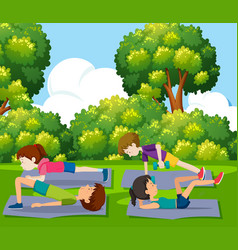 people exercise in the park vector image