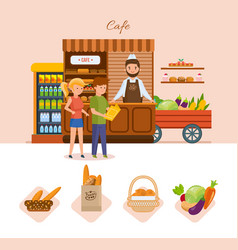 People in cafe choose products from the menu vector