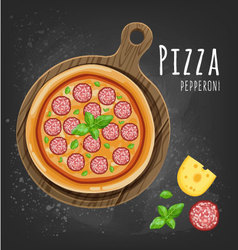 Pizza pepperoni vector image