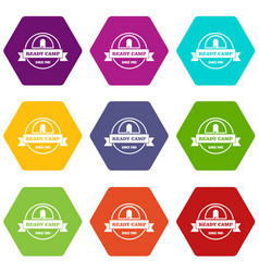 Ready camp icons set 9 vector