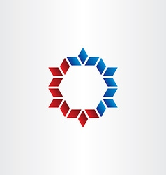 red blue hexagon frame element design vector image
