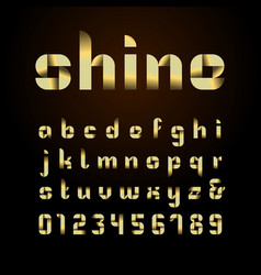 Ribbon font alphabet with gold effect letters vector