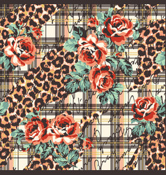 roses flowers leopard skin and tartan plaid vector image