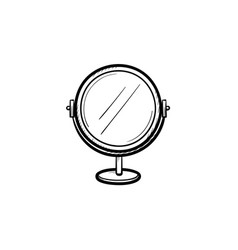 Round makeup mirror hand drawn sketch icon vector