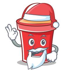Santa bucket character cartoon style vector