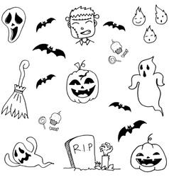 Scary Halloween doodle set vector image