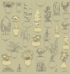 Seamless pattern with black doodle house plants i vector