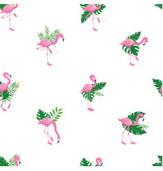 seamless pink flamingo bird and tropical leaves vector image