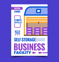 Self-storage facility business promo poster vector